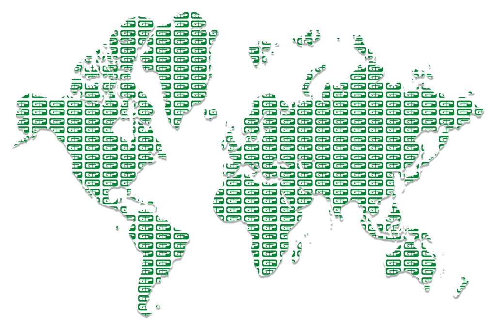 Green Pin World Map Distributor Locations